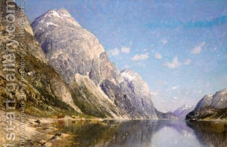 A Snow-Capped Fjord by Adelsteen Normann - Reproduction Oil Painting