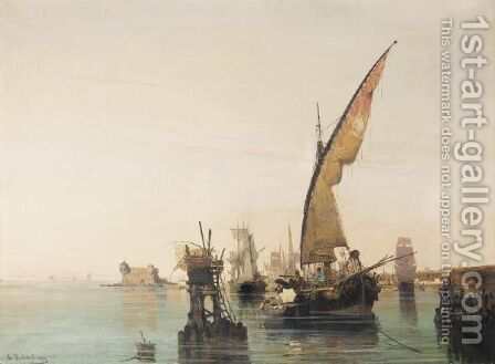 Boats In A Calm Bay by Constantinos Volanakis - Reproduction Oil Painting