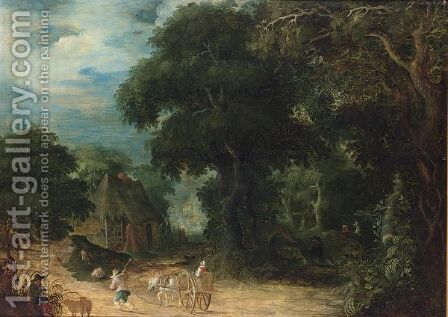 A Wooded Landscape With A Woman In A Horse-Drawn Cart And A Shepherd And His Herd On A Path by Abraham Govaerts - Reproduction Oil Painting