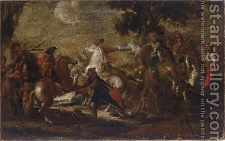 A Cavalry Battle Scene In A Wooded Landscape by (after) Cornelis De Wael - Reproduction Oil Painting
