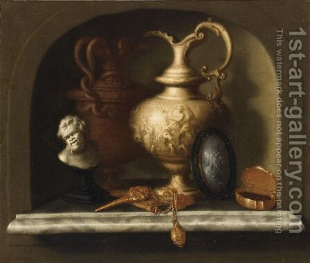 A Still Life With Two Sculpted Jugs With A Scene With Neptune by (after) Pieter Gerritsz. Van Roestraeten - Reproduction Oil Painting