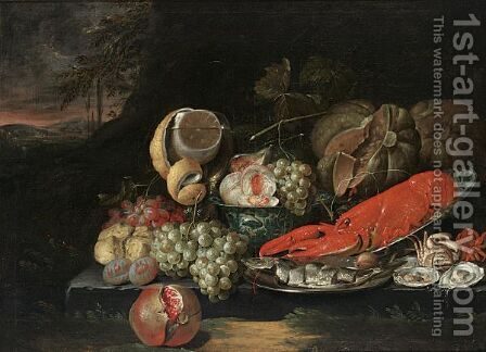 Still Life With A Lobster In A Wan-Li Bowl,a Herring On A Silver Plate by Jan Pauwel Gillemans The Elder - Reproduction Oil Painting