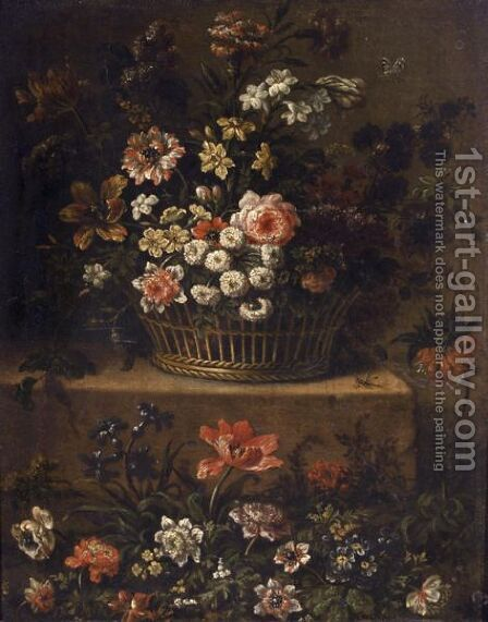 Roses, Daffodils, Tulips And Other Flowers In A Basket On A Stone Ledge by (after) Jean-Baptiste Monnoyer - Reproduction Oil Painting