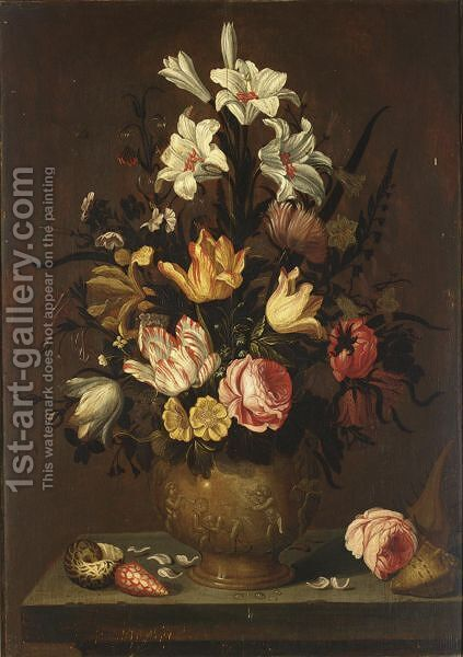 A Still Life With White Lilies, Tulips, Roses, Marigolds, Daffodils And Other Flowers In A Sculpted Stone Vase by (after) Anthony I Claesz - Reproduction Oil Painting