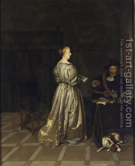 An Interior With A Lady Taking Singing Lessons From A Gentleman by (after) Gerard Ter Borch - Reproduction Oil Painting