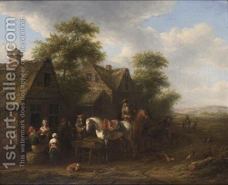 A Village Scene With Horsemen Halting Near Farmhouses And Other Figures Conversing by Barend Gael or Gaal - Reproduction Oil Painting