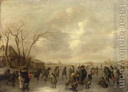 A Winter Landscape With Skaters, Figures Playing Kolf And A Boy On A Sleigh On A Frozen River, A Farmhouse To The Left by Adriaen Lievensz van der Poel - Reproduction Oil Painting