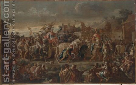 A Triumphal Procession Of A Roman Emperor by Domenico Mondo - Reproduction Oil Painting