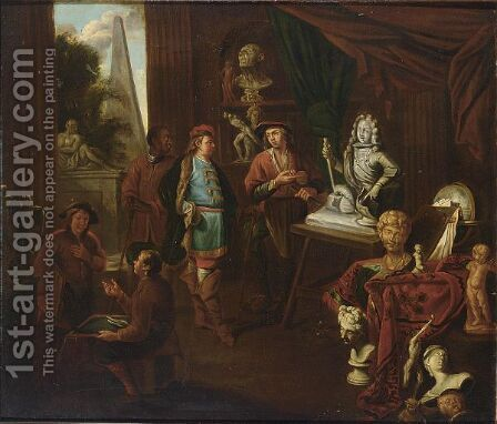 A Sculptor's Studio by Balthasar Van Den Bossche - Reproduction Oil Painting