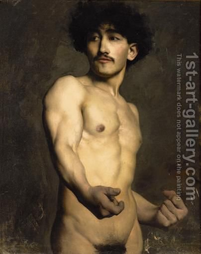 Academic Study Of A Male Nude by Ecole Francaise, Xixeme Siecle - Reproduction Oil Painting