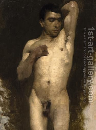 A Male Nude by Ecole Francaise, Xixeme Siecle - Reproduction Oil Painting