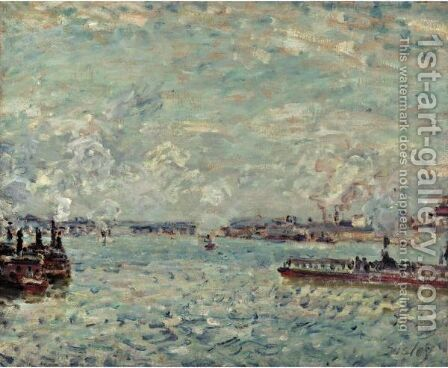 La Seine Au Point Du Jour by Alfred Sisley - Reproduction Oil Painting