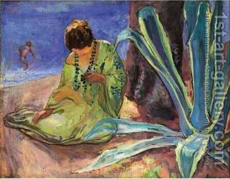 Femme Au Collier De Perles, Sainte Maxime by Henri Lebasque - Reproduction Oil Painting