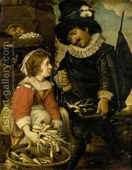 A Market Scene With A Gentleman Buying Turnips by Dutch School - Reproduction Oil Painting