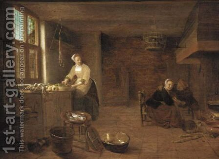 A Kitchen Interior With A Woman Preparing Dinner And Man Courting A Young Woman By The Fireplace by Hendrick Maertensz. Sorch (see Sorgh) - Reproduction Oil Painting