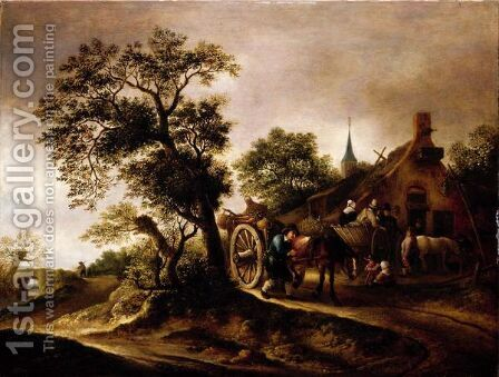 Landscape With Figures And Carts Before A Cottage by (after) Isaack Jansz. Van Ostade - Reproduction Oil Painting