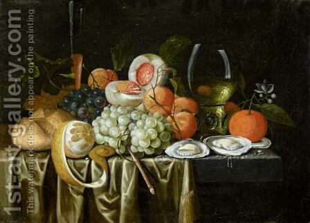 Still Life With A Roemer, Oysters, Oranges, Grapes, Apricots by Jan Pauwel II the Younger Gillemans - Reproduction Oil Painting