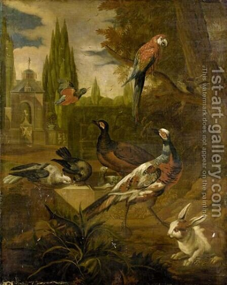 Still Life With Pheasants, Doves, A Parrot, A Kingfisher And A Rabbit In A Parkland Landscape by (after) Pieter Casteels III - Reproduction Oil Painting