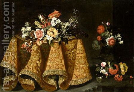 Still Life With A Bouquet Of Flowers On A Gold Plate On A Table Draped With A Gold Embroidered Cloth, A Vase Of Flowers Beyond by (after) Antonio The Younger Gianlisi - Reproduction Oil Painting