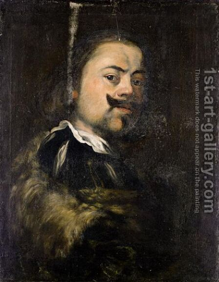 Portrait Of A Gentleman, Head And Shoulders, Wearing Black, With A Fur Lined Coat by (after) Bernardo Strozzi - Reproduction Oil Painting