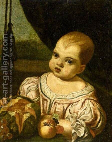 Portrait Of A Child, Half Length, Wearing A Pink Silk Dress And Holding A Melon by (after) Antonio Amorosi - Reproduction Oil Painting
