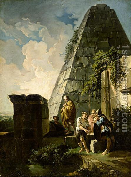 Capriccio With Figures Beside The Pyramid Of Gaius Cestius by (after) Andrea Locatelli - Reproduction Oil Painting