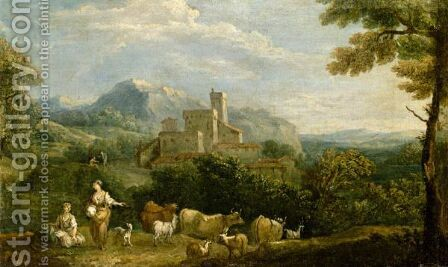 Pastoral Landscape With Drovers In The Foreground A Hill Top Town Beyond by (after) Giuseppe Zais - Reproduction Oil Painting