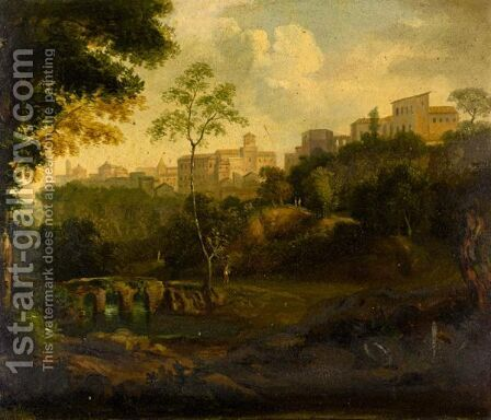 Italianate River Landscape, With A Hill Top Town Beyond by Italian School - Reproduction Oil Painting