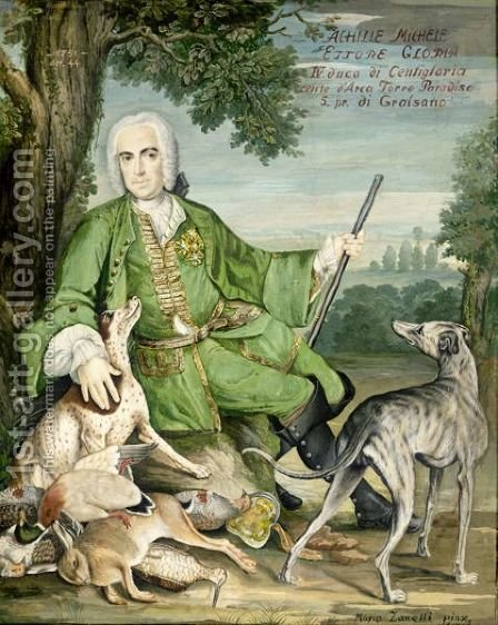 Portrait Of Achille Michele Ettore Gloria, Fourth Duke Of Centigloria, Aged 44, Full Length, In A Landscape by Mario Zanelli - Reproduction Oil Painting