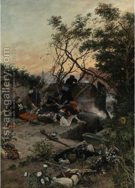 Under Fire by Alphonse Marie de Neuville - Reproduction Oil Painting