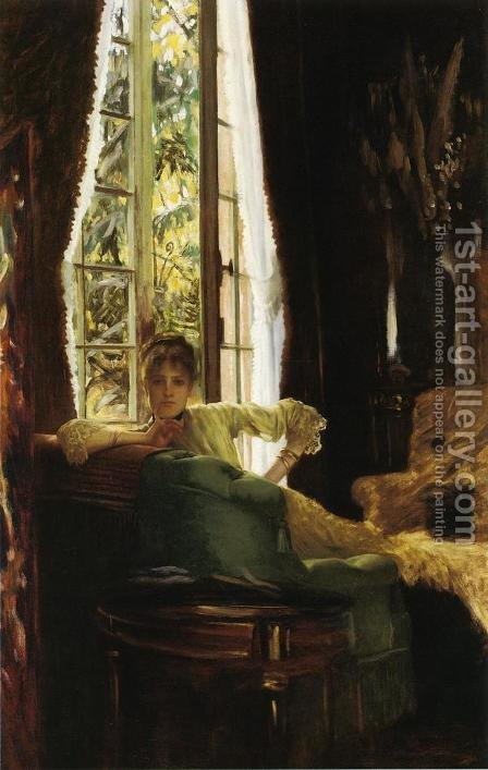 Study For 'Le Sphinx' (Woman In An Interior) by James Jacques Joseph Tissot - Reproduction Oil Painting