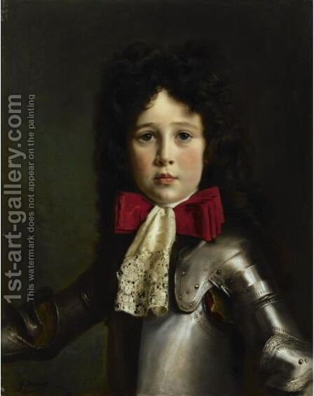 Portrait Of Louis-Rene-Antoine Alexandre De Gramont, Five Years Old, In Costume by Gustave Jean Jacquet - Reproduction Oil Painting