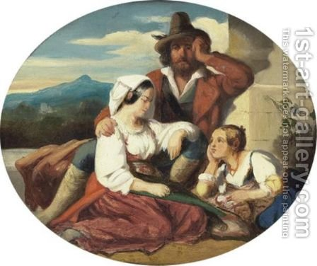 La Famille Romaine by Ecole Francaise - Reproduction Oil Painting