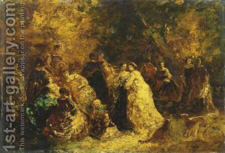 Reunion Dans Un Parc by Adolphe Joseph Thomas Monticelli - Reproduction Oil Painting