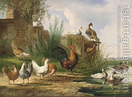 Poultry By A Pond by Albertus Verhoesen - Reproduction Oil Painting