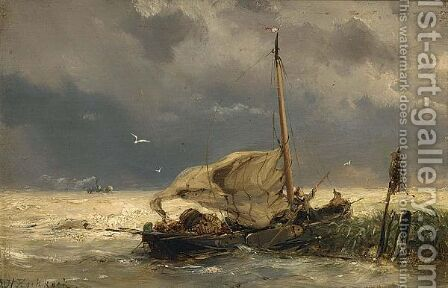 Shipping In Stormy Weather by Hermanus Koekkoek - Reproduction Oil Painting