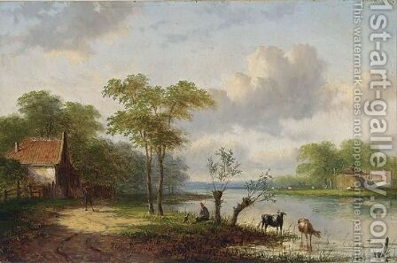 Figures In A River Landscape by Jan Evert Morel - Reproduction Oil Painting
