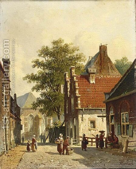 Villagers In The Sunlit Streets Of A Dutch Town by Adrianus Eversen - Reproduction Oil Painting