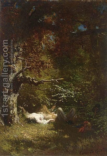 Lovers In The Forest by Cesar De Cock - Reproduction Oil Painting