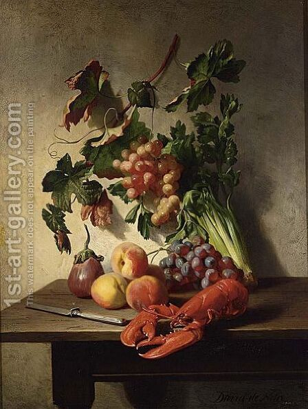 A Fruit And Vegetable Still Life With A Lobster And A Knife by David Emil Joseph de Noter - Reproduction Oil Painting
