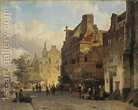 Figures On A Market Square by Cornelis Springer - Reproduction Oil Painting