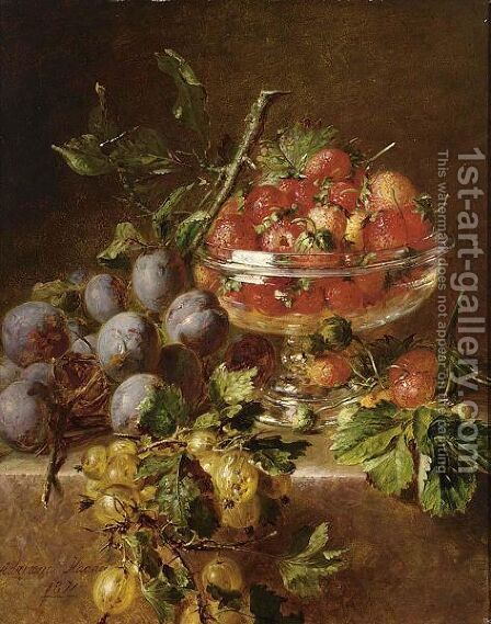 A Still Life With Prunes, Gooseberries And Strawberries In A Bowl by Adriana-Johanna Haanen - Reproduction Oil Painting