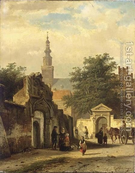 Figures In The Sunlit Streets Of A Dutch Town by Cornelis Springer - Reproduction Oil Painting