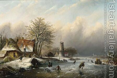 A Winter Landscape With Figures On The Ice by Jan Jacob Coenraad Spohler - Reproduction Oil Painting