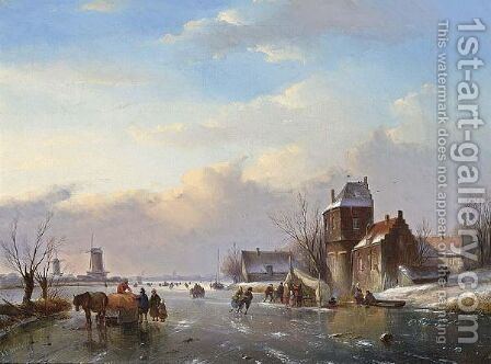 Skaters On A Frozen Water Way by Jan Jacob Coenraad Spohler - Reproduction Oil Painting