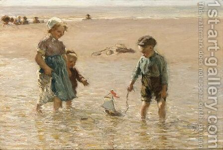 Children Playing On The Beach by Bernardus Johannes Blommers - Reproduction Oil Painting