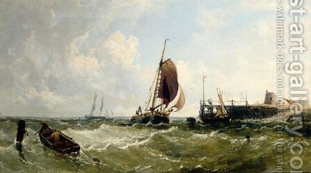 Shipping Off The Needles, Isle Of Wight by (after) James Edwin Meadows - Reproduction Oil Painting