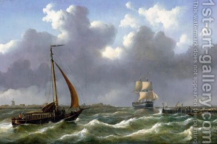 Dutch Ships Sailing In Rough Waters by Abraham Hulk Snr - Reproduction Oil Painting