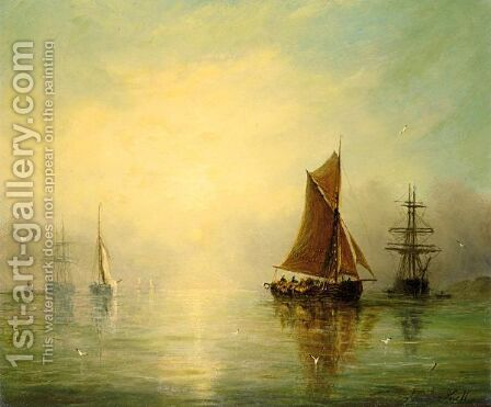 Fishing Boats In A Calm by Adolphus Knell - Reproduction Oil Painting