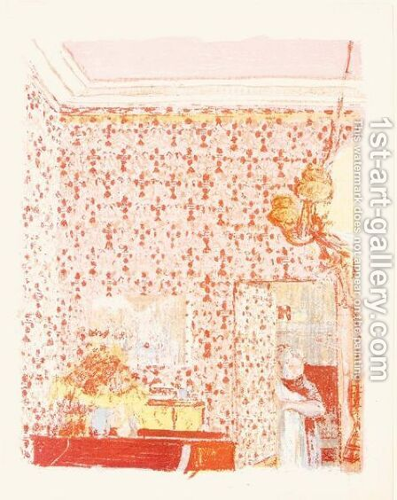 Interieur Aux Tentures Roses by Edouard  (Jean-Edouard) Vuillard - Reproduction Oil Painting